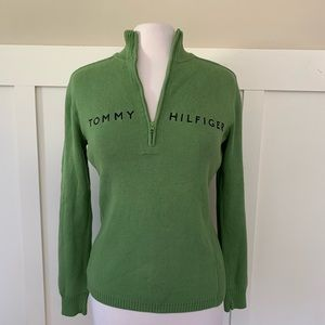 Vintage Tommy Hilfiger 1/2 Zip Sweater Pea Green